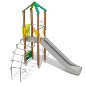 klatretårn med rutschebane